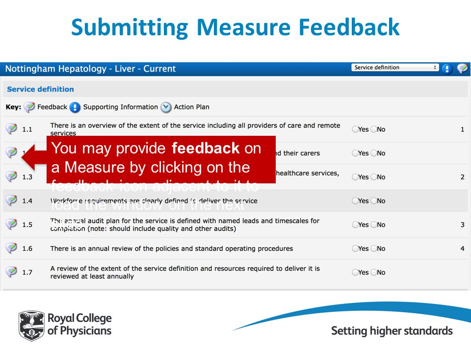 You may provide feedback on a Measure by clicking on the feedback icon adjacent to it to load the window on the next slide Submitting Measure Feedback