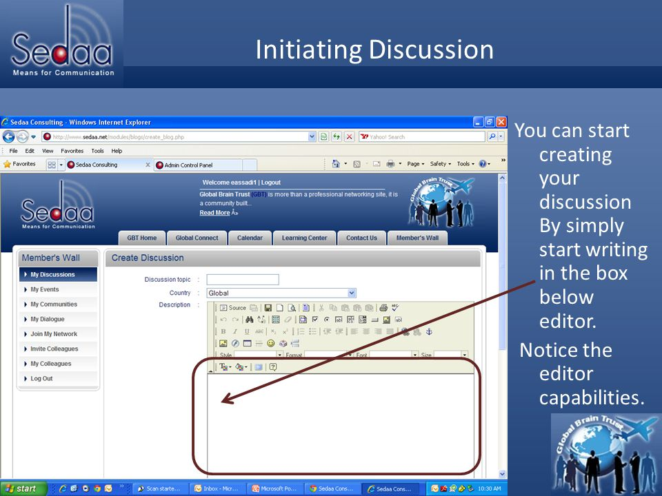 Click to edit Master title style Initiating Discussion You can start creating your discussion By simply start writing in the box below editor. Notice