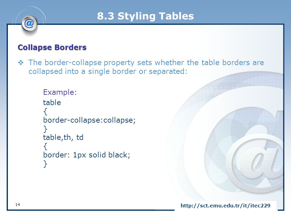 8.3 Styling Tables Collapse Borders  The border-collapse property sets whether the table borders are collapsed into a single border or separated: Exa