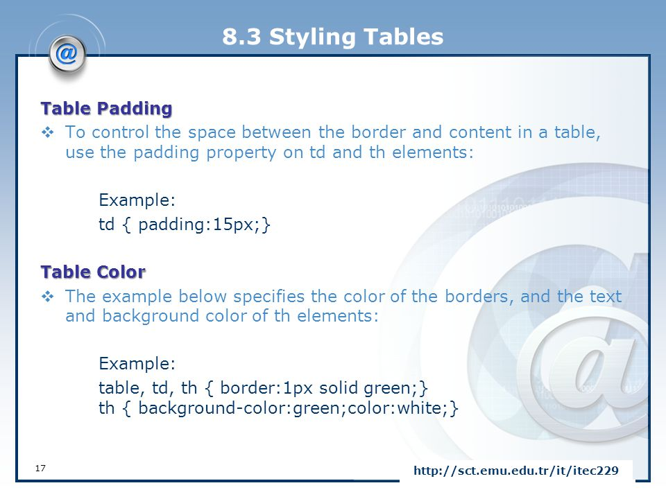 8.3 Styling Tables Table Padding  To control the space between the border and content in a table, use the padding property on td and th elements: Exa