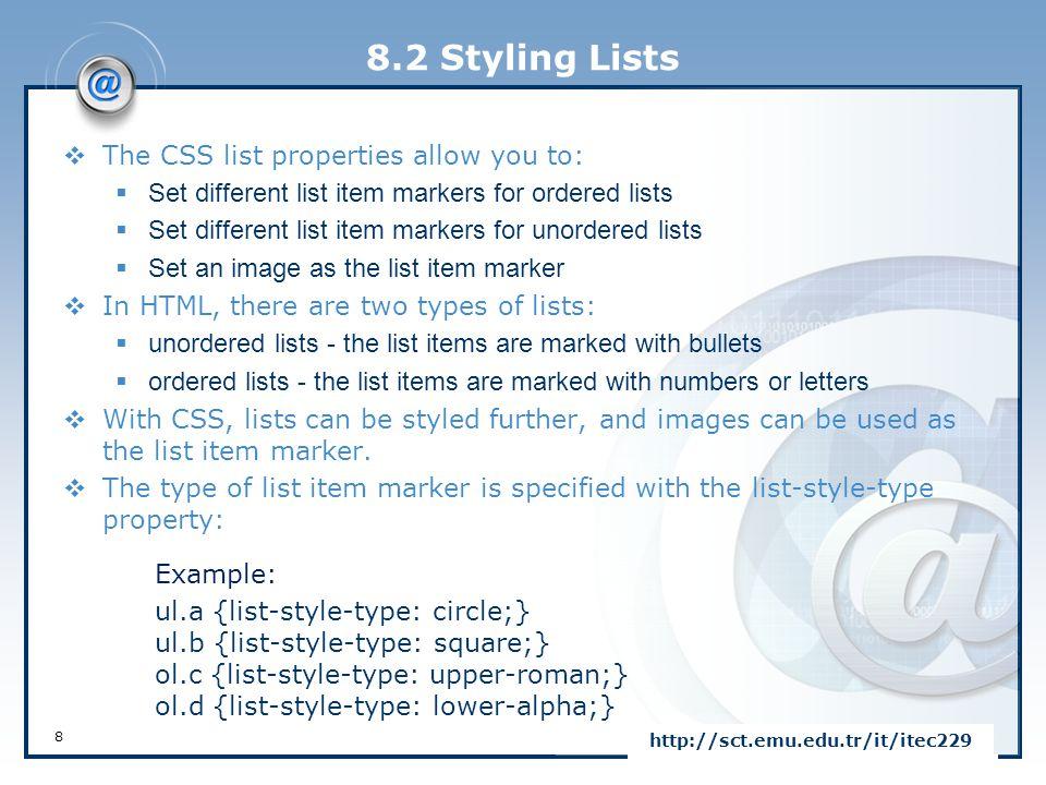 LOGOhttp://sct.emu.edu.tr/it/itec229 CSS - Intermediate END of CHAPTER 8
