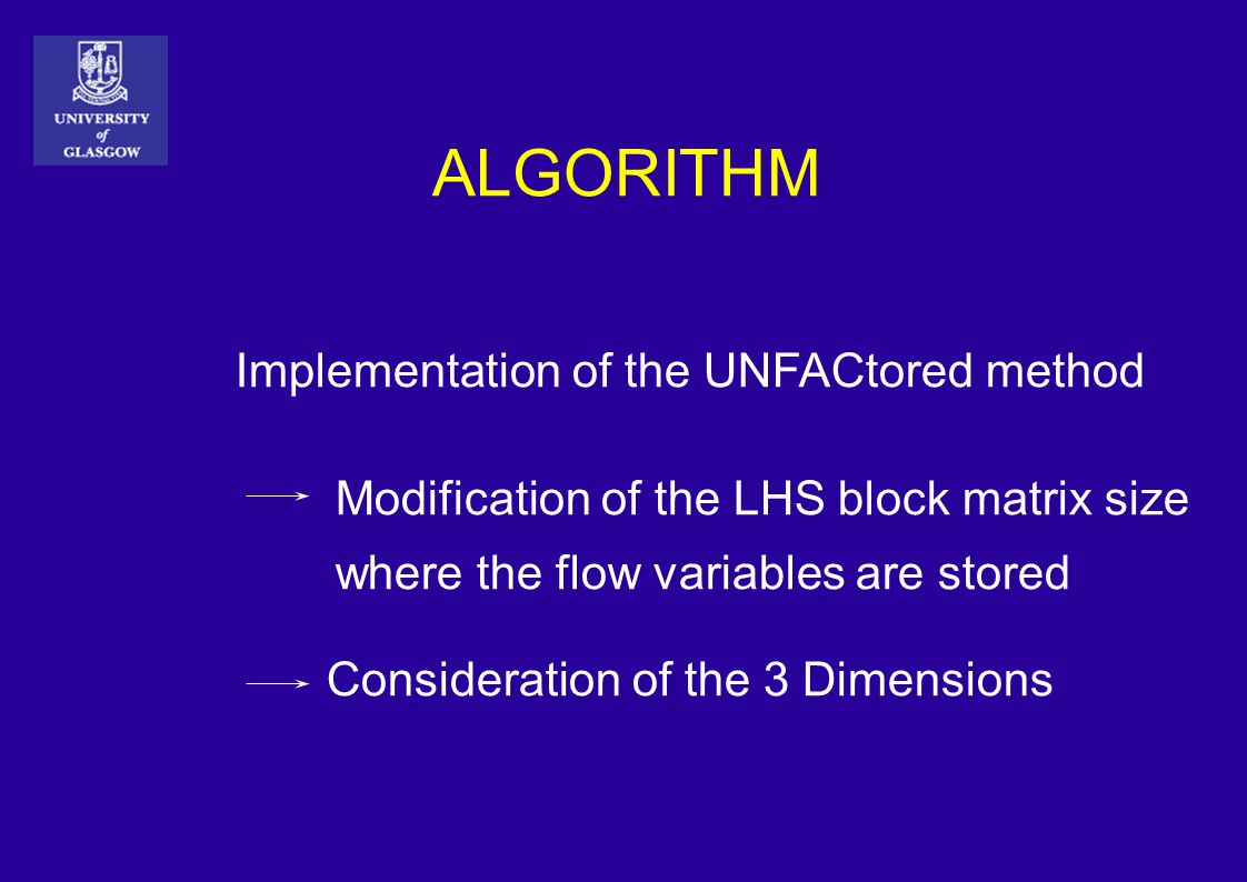 ALGORITHM Implementation of the UNFACtored method Modification of the LHS block matrix size where the flow variables are stored Consideration of the 3 Dimensions