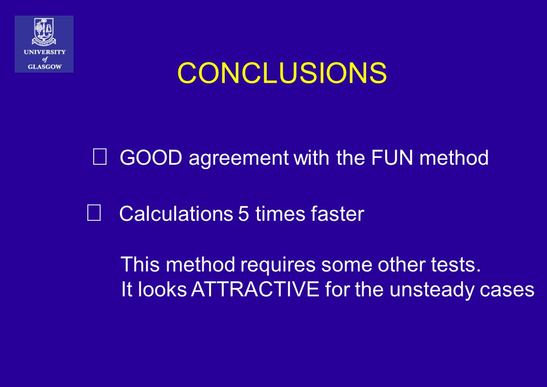 CONCLUSIONS  GOOD agreement with the FUN method  Calculations 5 times faster This method requires some other tests.
