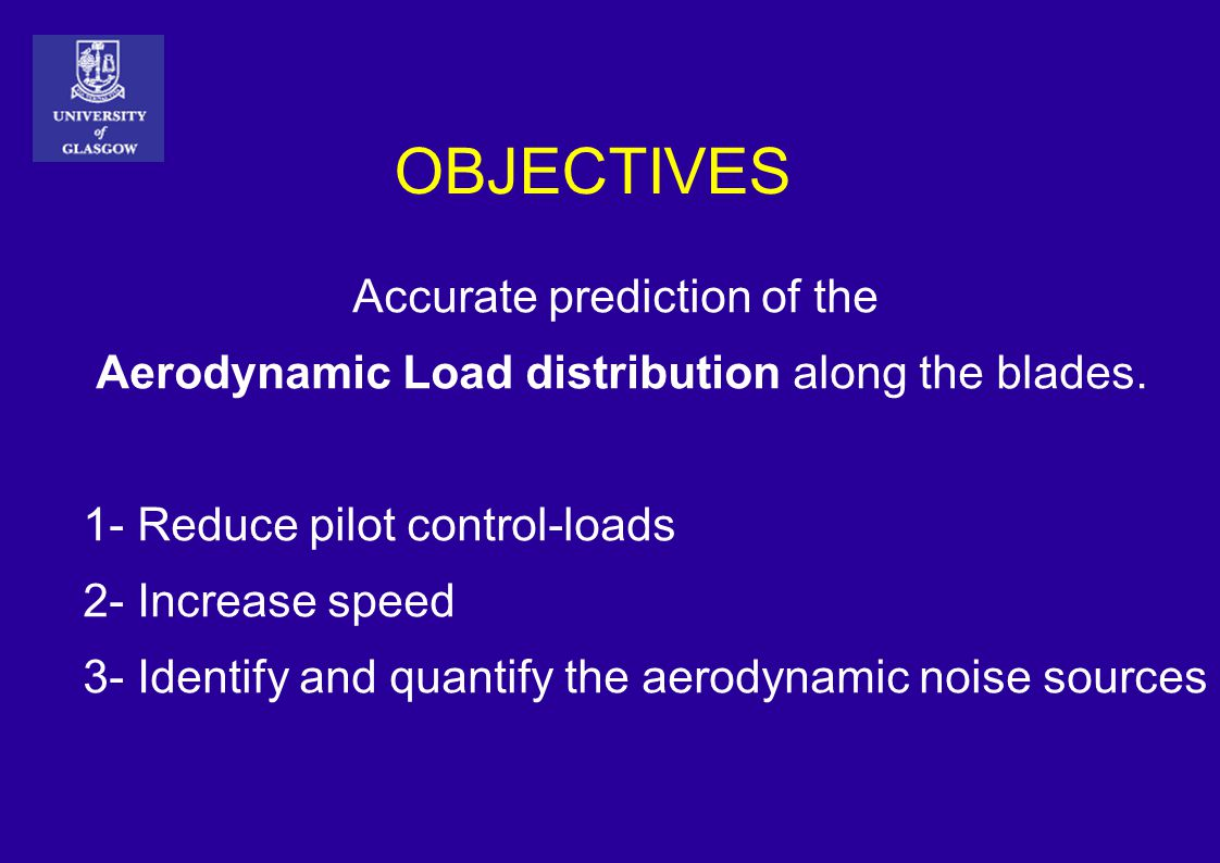 OBJECTIVES Accurate prediction of the Aerodynamic Load distribution along the blades. 1- Reduce pilot control-loads 2- Increase speed 3- Identify and