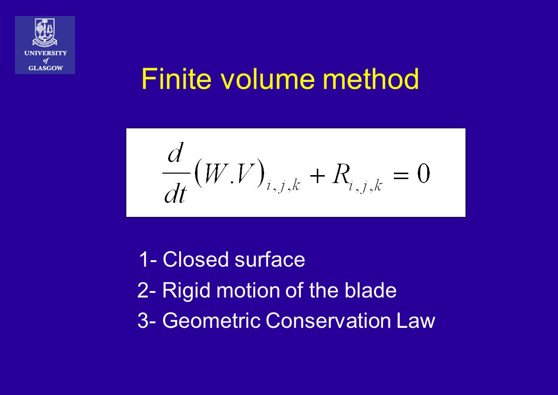 Finite volume method 1- Closed surface 2- Rigid motion of the blade 3- Geometric Conservation Law
