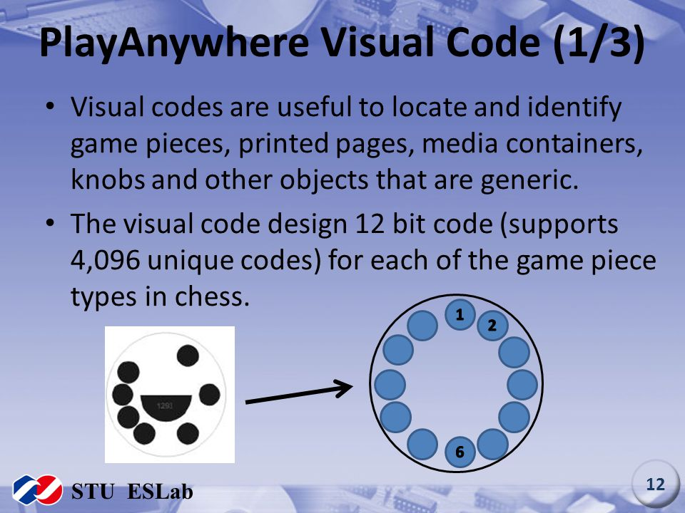 PlayAnywhere Visual Code (1/3) Visual codes are useful to locate and identify game pieces, printed pages, media containers, knobs and other objects th