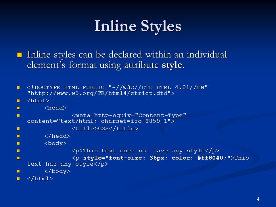 5 Embedded Style Sheets Can be embedded in the head section Can be embedded in the head section CSS CSS p { p { font-size: 20px; font-size: 20px; font-family: Arial, Helvetica, sans-serif; font-family: Arial, Helvetica, sans-serif; color: #8080ff; color: #8080ff; } /* This is CSS comment */ /* This is CSS comment */.highlighted {.highlighted { background-color: #FFFFAA; background-color: #FFFFAA; } This text does have its style This text does have its style Lorem Ipsum is simply dummy text of the printing and typesetting industry...