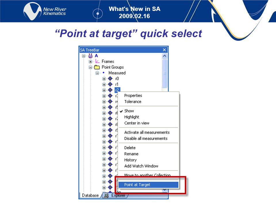 What s New in SA 2009.02.16 Point at target quick select