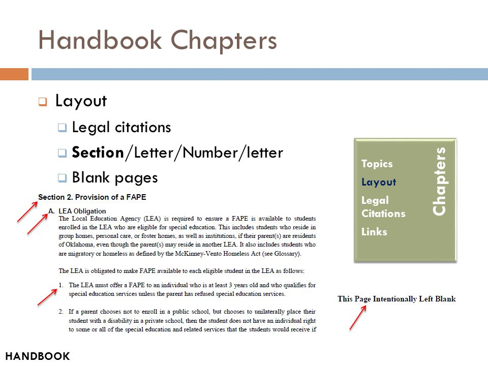 Handbook Chapters  Layout  Legal citations  Section/Letter/Number/letter  Blank pages Table of Contents How-to Guide Acronyms and Abbreviations Glossary HANDBOOK Chapters Topics Layout Legal Citations Links