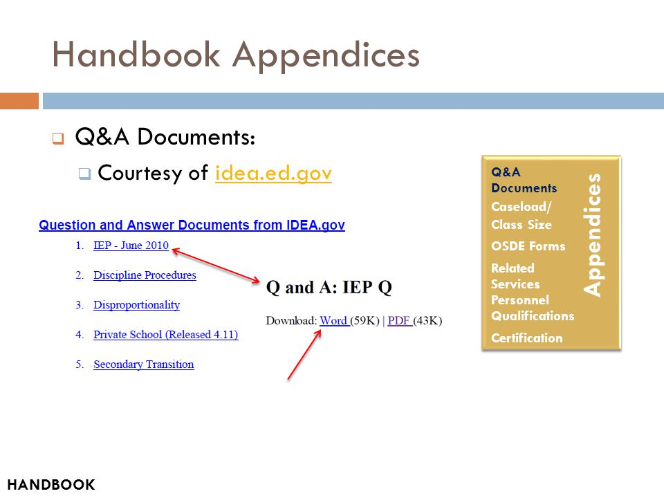 Handbook Appendices  Q&A Documents:  Courtesy of idea.ed.govidea.ed.gov HANDBOOK Q&A Documents Caseload/ Class Size OSDE Forms Related Services Personnel Qualifications Certification Appendices