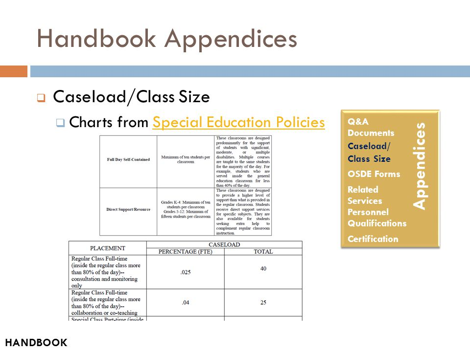 Handbook Appendices  Caseload/Class Size  Charts from Special Education PoliciesSpecial Education Policies HANDBOOK Appendices Q&A Documents Caseload/ Class Size OSDE Forms Related Services Personnel Qualifications Certification