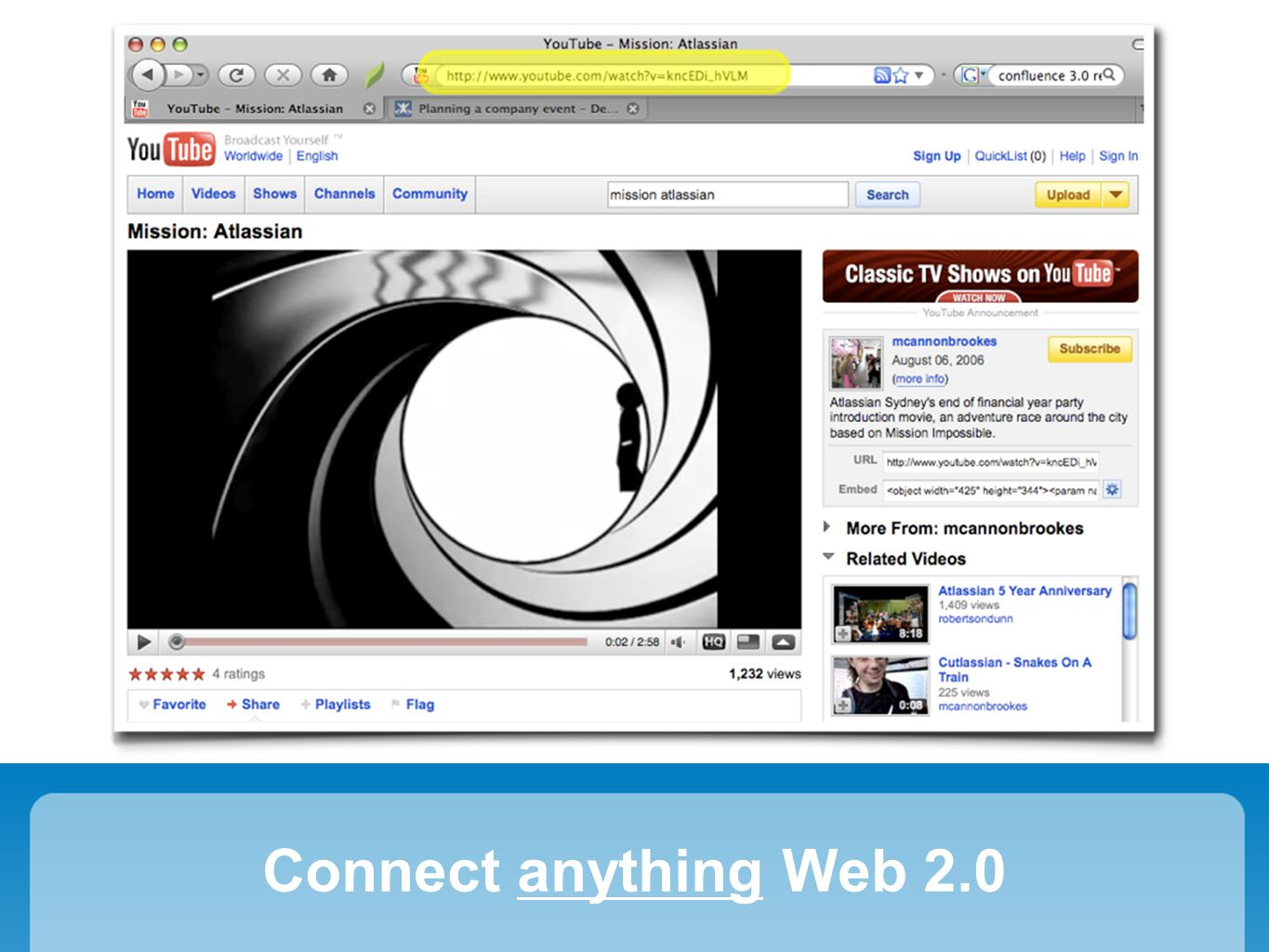 2008: Widget Connector Connect anything Web 2.0