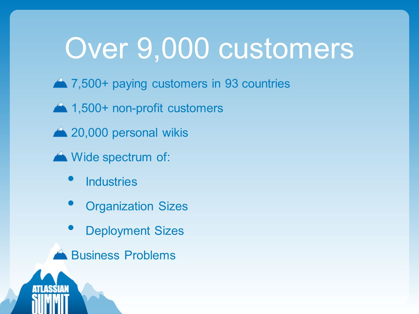 Over 9,000 customers 7,500+ paying customers in 93 countries 1,500+ non-profit customers 20,000 personal wikis Wide spectrum of: Industries Organization Sizes Deployment Sizes Business Problems