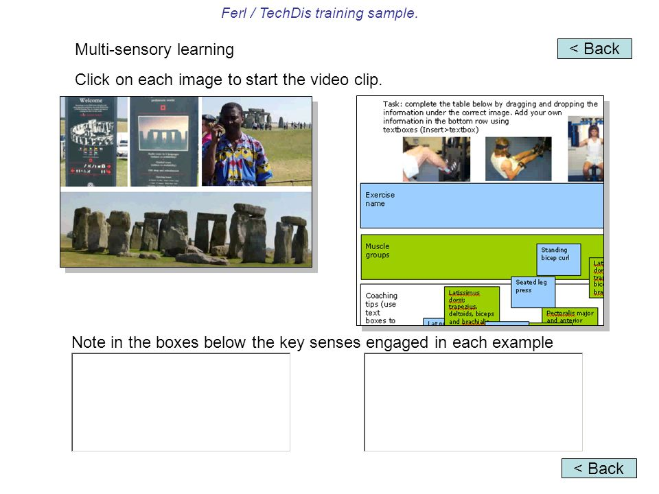 Ferl / TechDis training sample. Multi-sensory learning Click on each image to start the video clip. Note in the boxes below the key senses engaged in