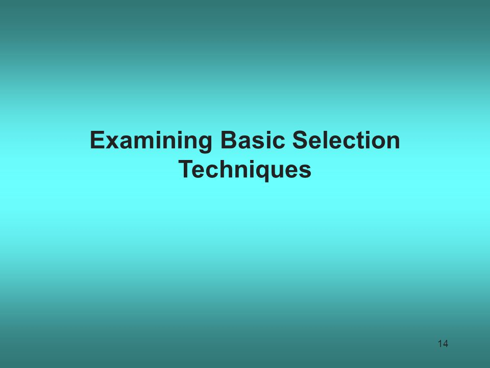 Examining Basic Selection Techniques 14