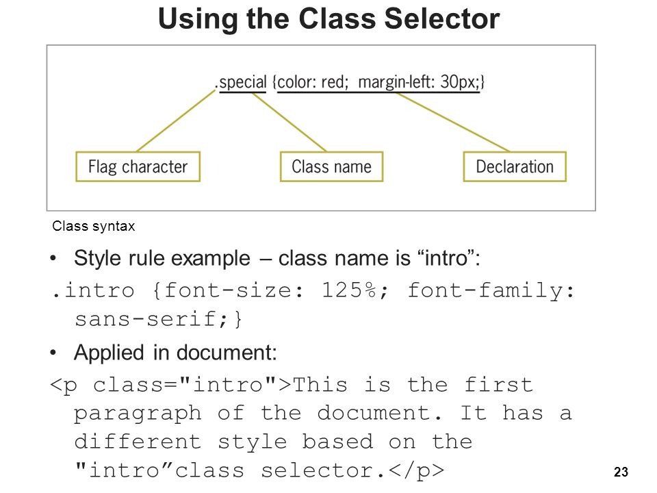 "23 Class syntax Using the Class Selector Style rule example – class name is ""intro"":.intro {font-size: 125%; font-family: sans-serif;} Applied in docu"