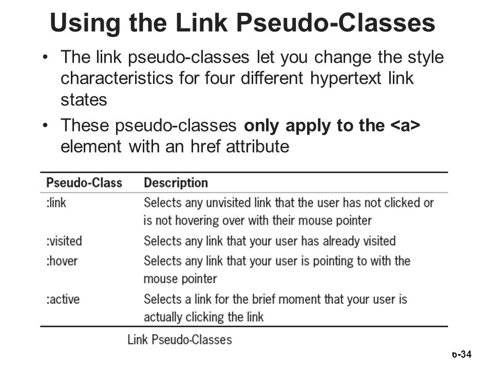 6-34 Using the Link Pseudo-Classes The link pseudo-classes let you change the style characteristics for four different hypertext link states These pse