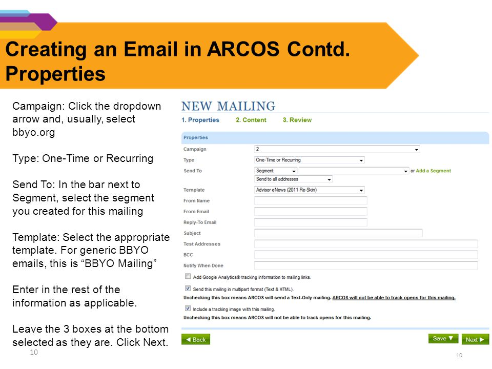 10 Creating an Email in ARCOS Contd.