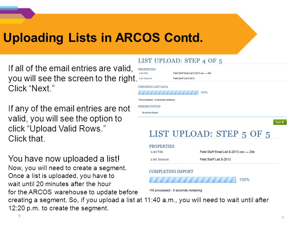 5 Uploading Lists in ARCOS Contd.