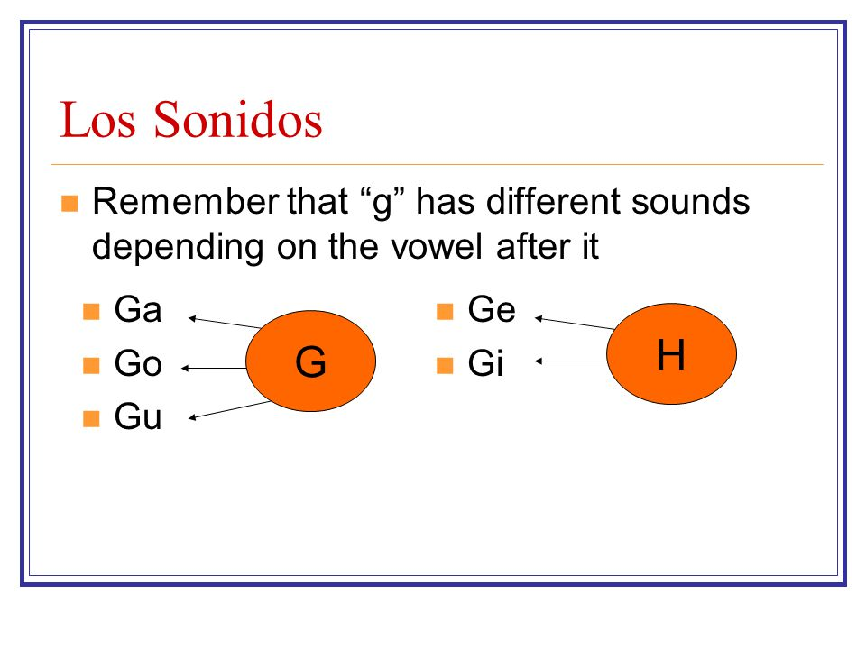 Los Sonidos Remember that g has different sounds depending on the vowel after it Ge Gi Ga Go Gu G H