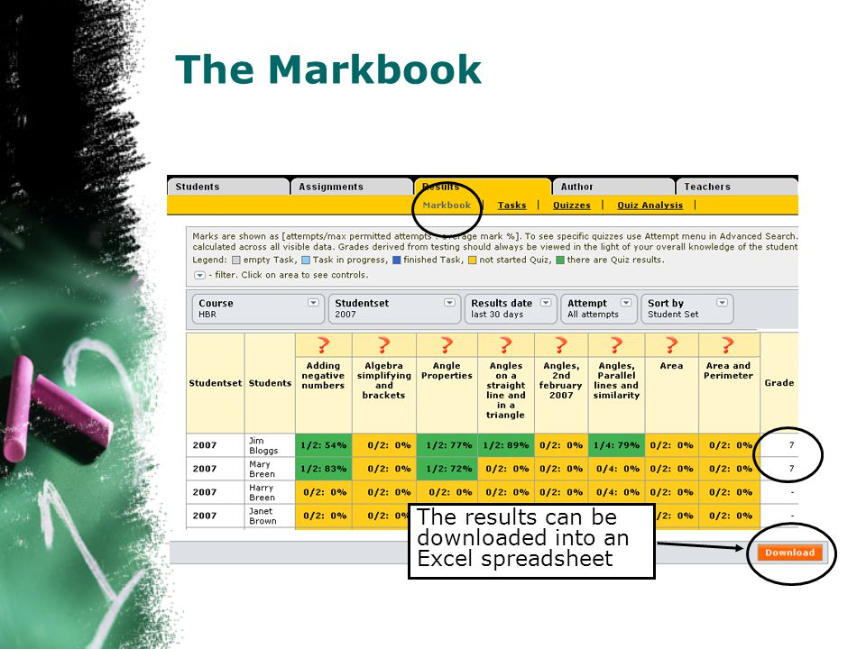 The Markbook The results can be downloaded into an Excel spreadsheet