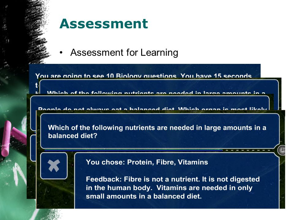 Check Box (Marked out of 4) Assessment Assessment Types Select the hotspot Drag 'n Drop Type your answer Cloze