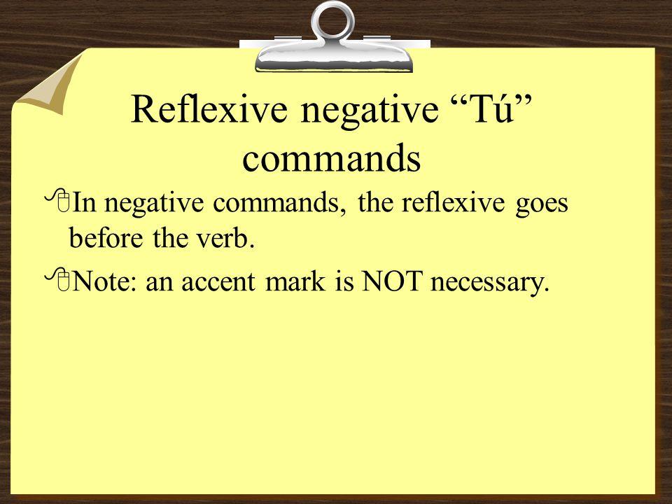 "Reflexive affirmative ""Tú"" commands 8Levantarse= se changes to te= Levántate 8Bajarse= se changes to te= bájate 8Subirse= se changes to te=súbete 8Bañ"