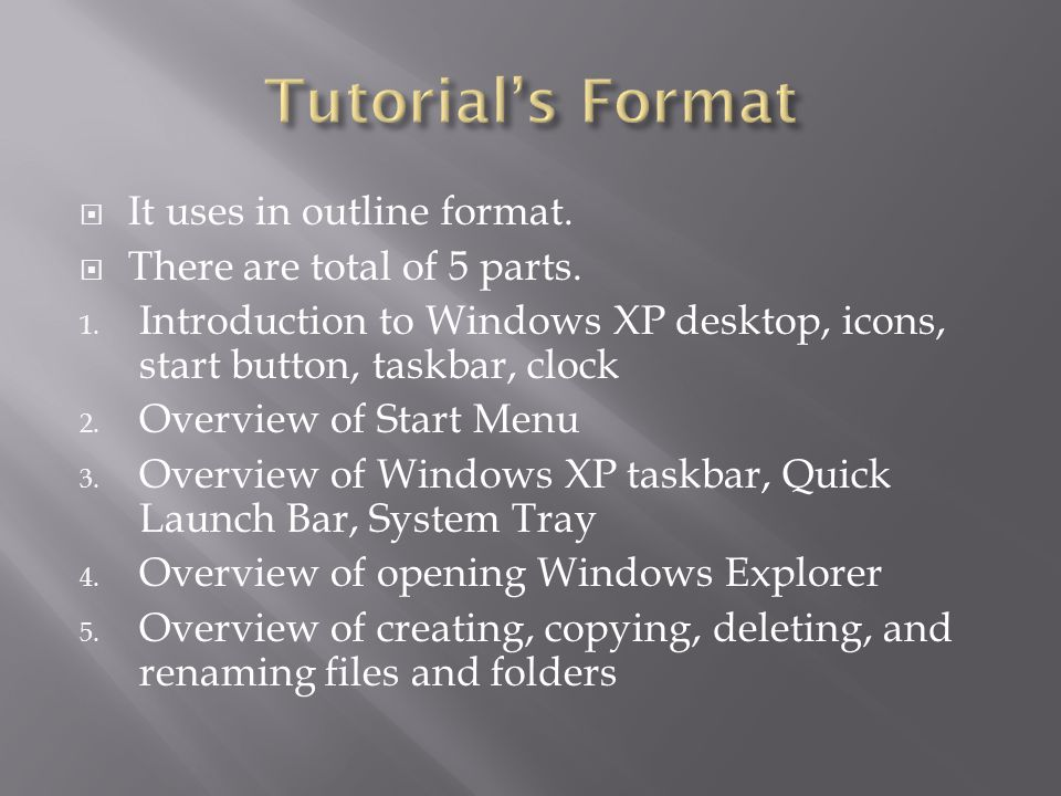  It uses in outline format.  There are total of 5 parts.