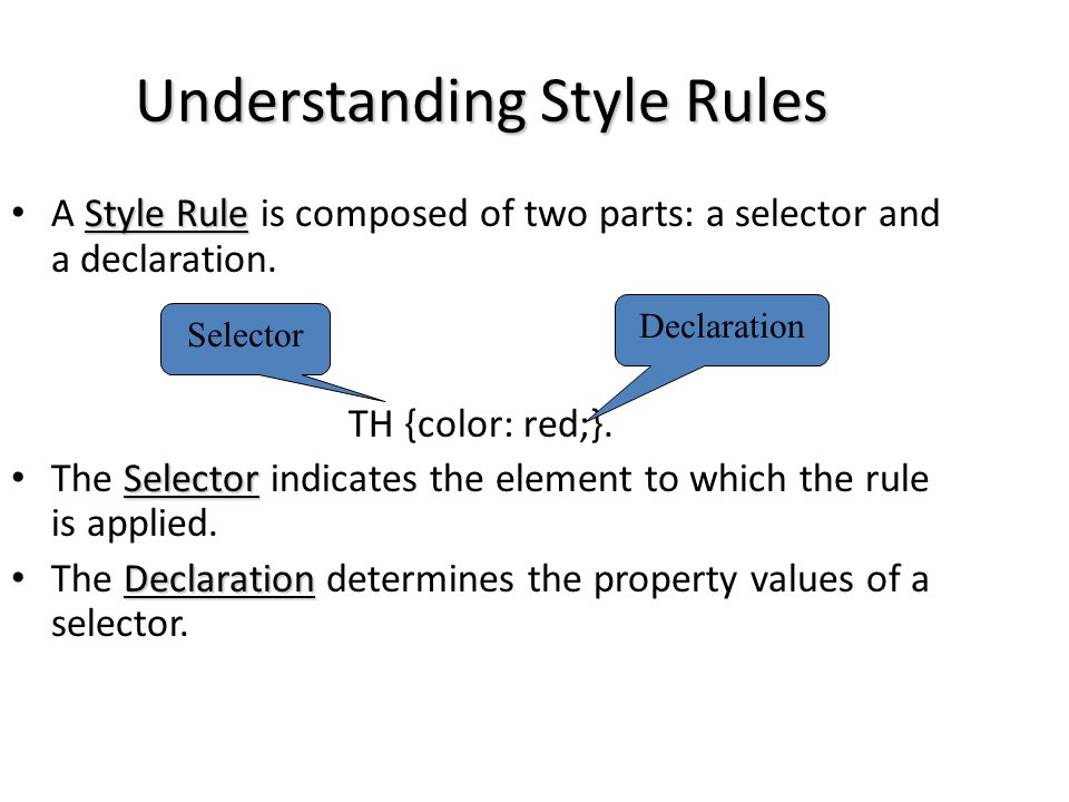 Understanding Style Rules Style Rule A Style Rule is composed of two parts: a selector and a declaration. TH {color: red;}. Selector The Selector indi