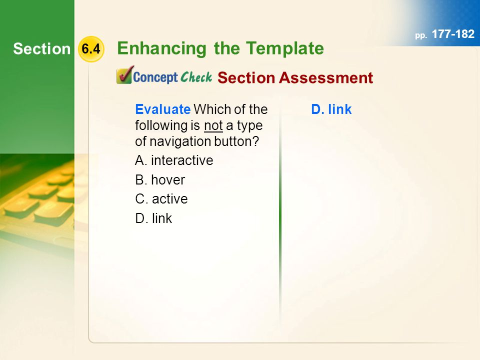Section 6.4 Enhancing the Template pp.