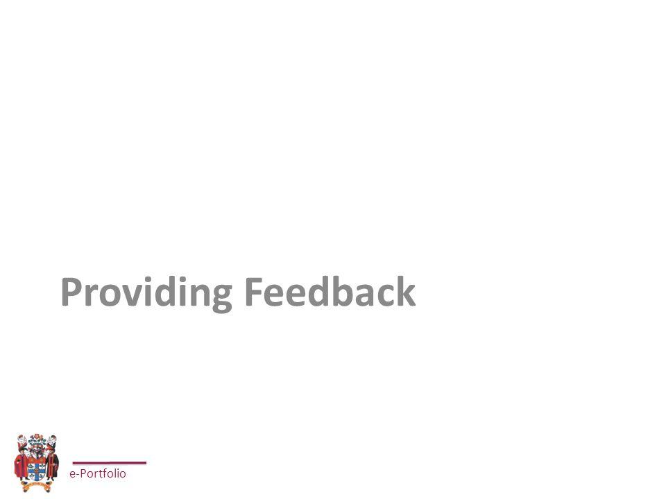 e-Portfolio Providing Feedback