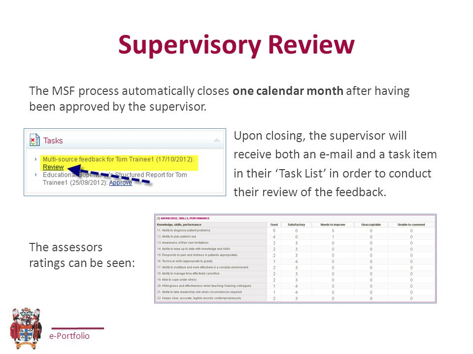 e-Portfolio Supervisory Review Upon closing, the supervisor will receive both an e-mail and a task item in their 'Task List' in order to conduct their review of the feedback.
