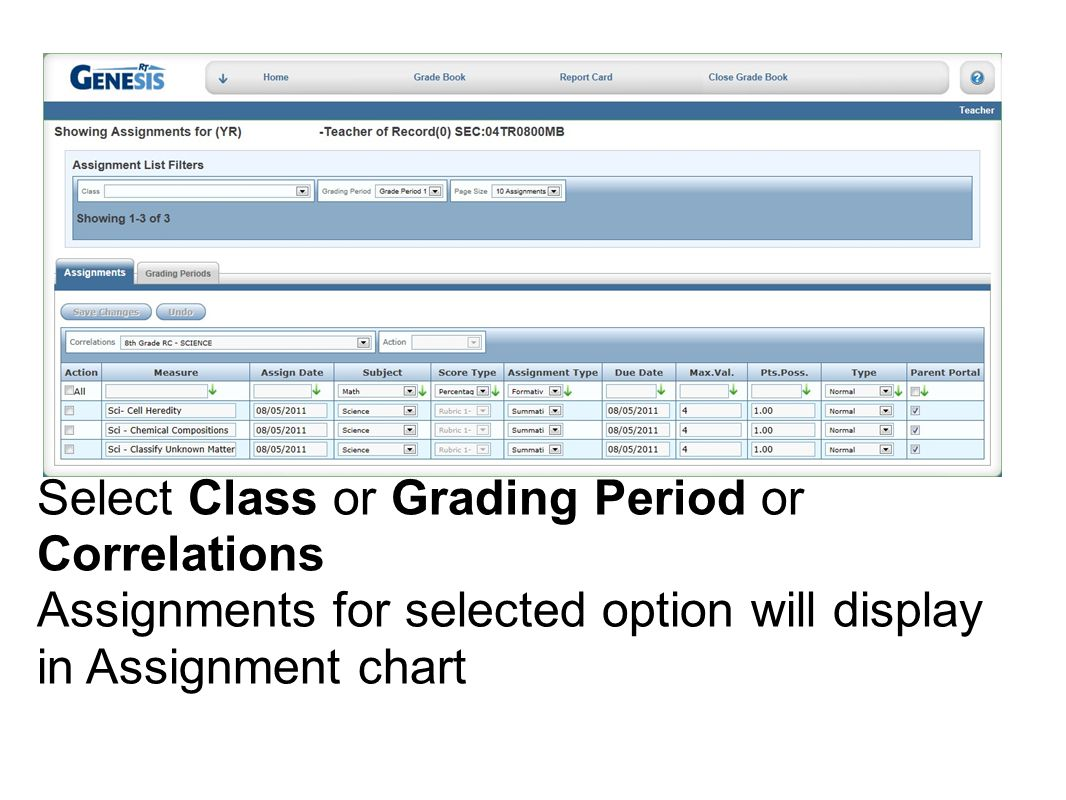 Select Class or Grading Period or Correlations Assignments for selected option will display in Assignment chart