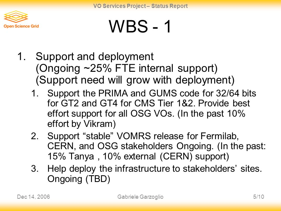 Dec 14, 20065/10 VO Services Project – Status Report Gabriele Garzoglio WBS - 1 1.Support and deployment (Ongoing ~25% FTE internal support) (Support need will grow with deployment) 1.Support the PRIMA and GUMS code for 32/64 bits for GT2 and GT4 for CMS Tier 1&2.