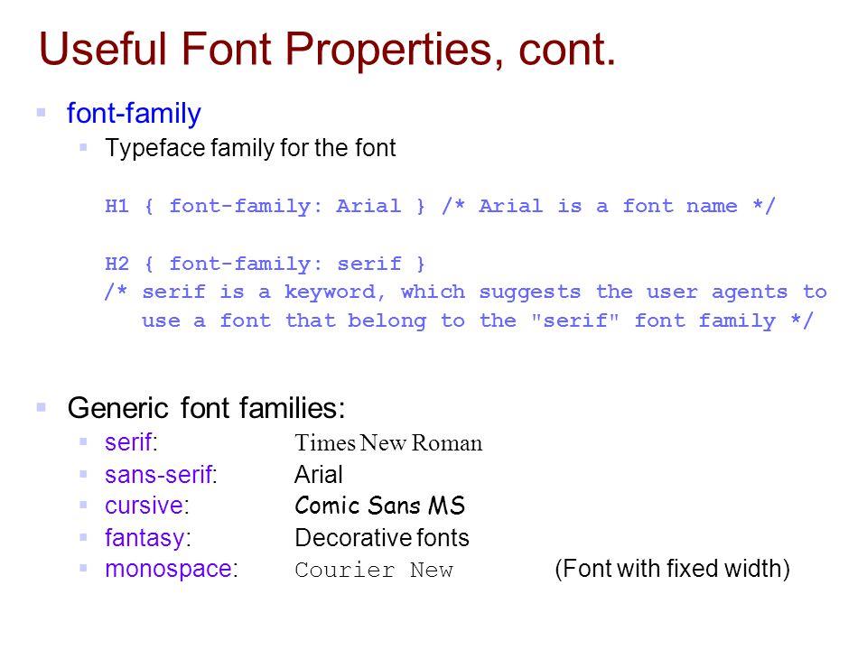 Useful Font Properties, cont.