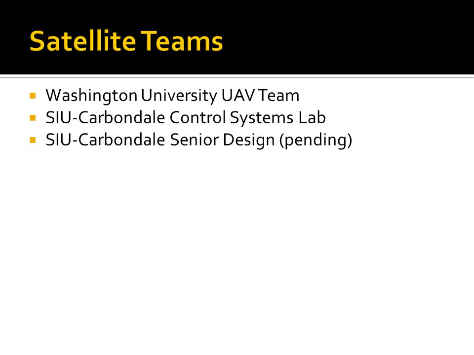  Washington University UAV Team  SIU-Carbondale Control Systems Lab  SIU-Carbondale Senior Design (pending)