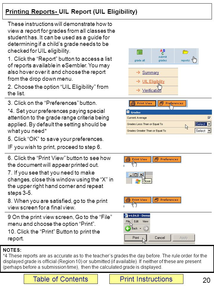 Printing Reports- UIL Report (UIL Eligibility) These instructions will demonstrate how to view a report for grades from all classes the student has.