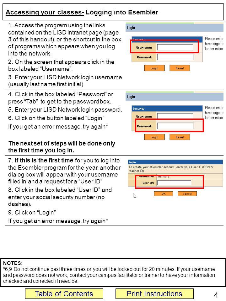 Accessing your classes- Logging into Esembler 1.