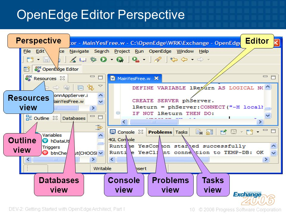 © 2006 Progress Software Corporation10 DEV-2: Getting Started with OpenEdge Architect, Part I OpenEdge Editor Perspective Resources view Editor Outline view Console view Perspective Databases view Problems view Tasks view