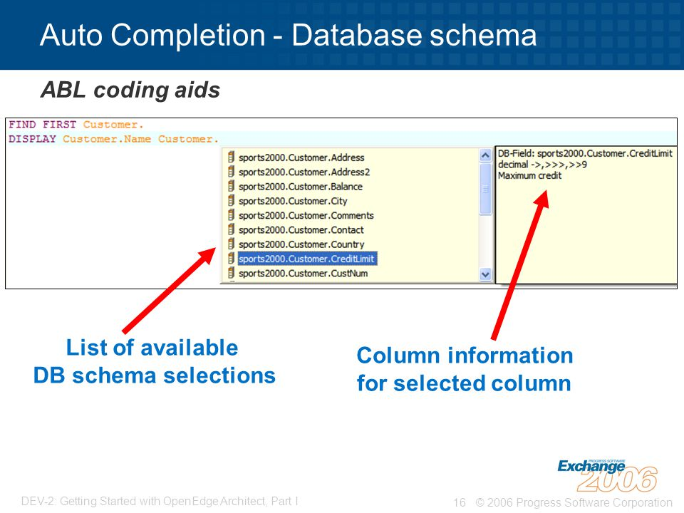 © 2006 Progress Software Corporation16 DEV-2: Getting Started with OpenEdge Architect, Part I Auto Completion - Database schema ABL coding aids List of available DB schema selections Column information for selected column