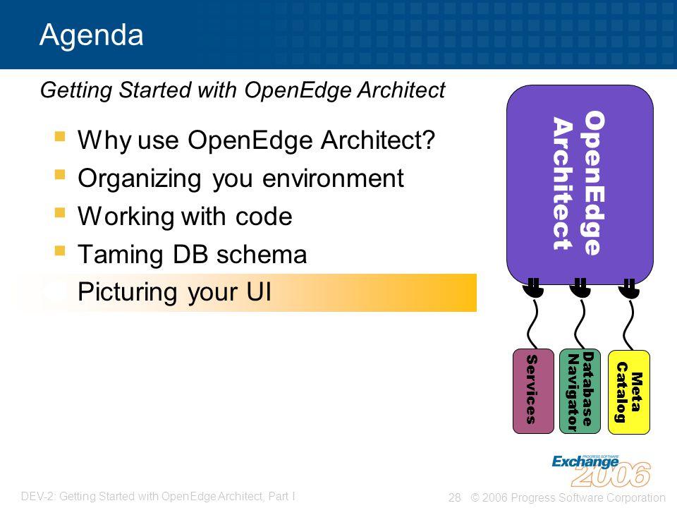 © 2006 Progress Software Corporation28 DEV-2: Getting Started with OpenEdge Architect, Part I  Why use OpenEdge Architect.