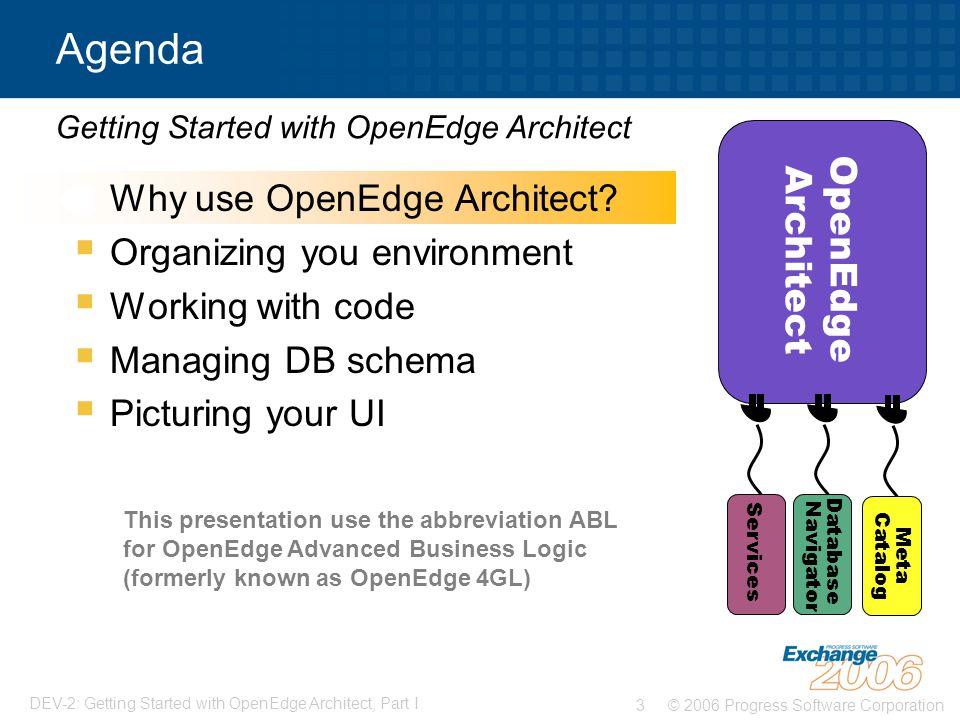 © 2006 Progress Software Corporation3 DEV-2: Getting Started with OpenEdge Architect, Part I  Why use OpenEdge Architect.
