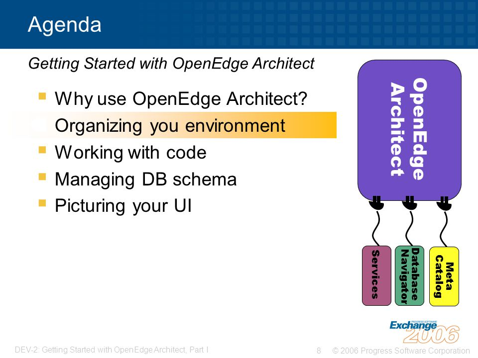 © 2006 Progress Software Corporation8 DEV-2: Getting Started with OpenEdge Architect, Part I  Why use OpenEdge Architect.