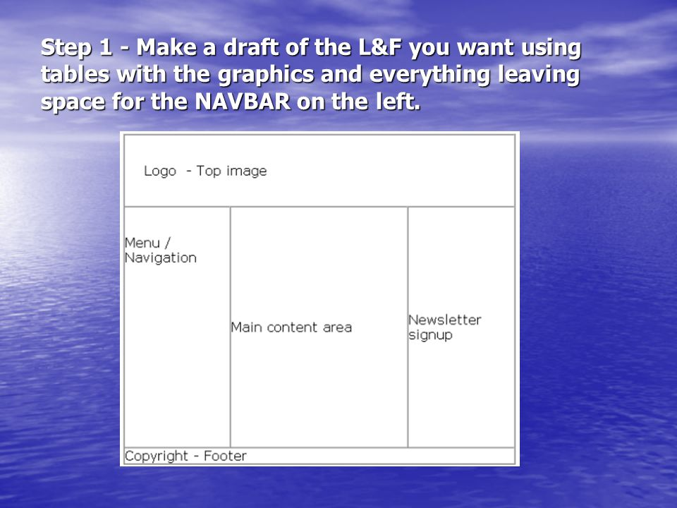 Step 1 - Make a draft of the L&F you want using tables with the graphics and everything leaving space for the NAVBAR on the left.