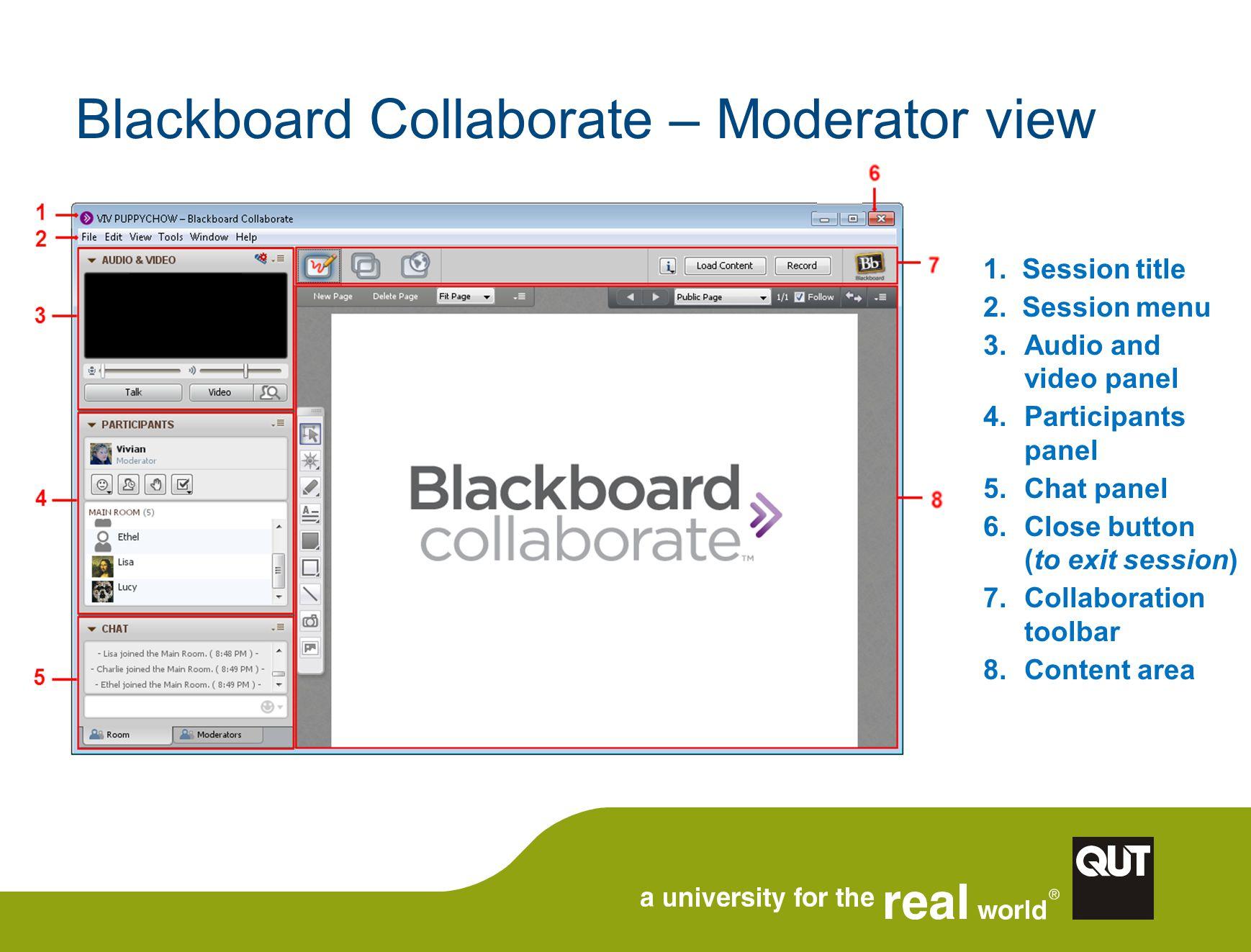 Blackboard Collaborate – Moderator view 1. Session title 2.