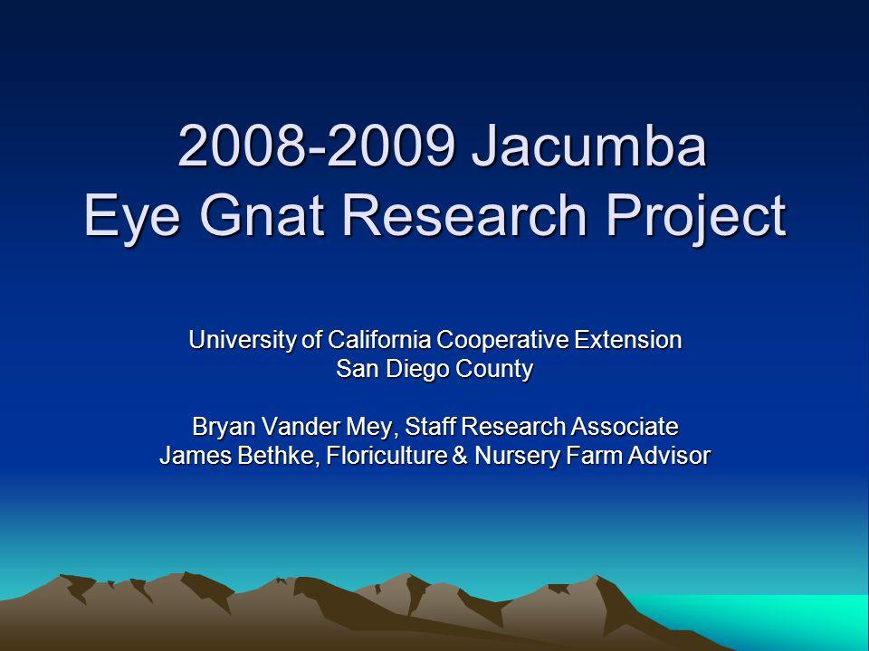 2008-2009 Jacumba Eye Gnat Research Project 2008-2009 Jacumba Eye Gnat Research Project University of California Cooperative Extension San Diego County Bryan Vander Mey, Staff Research Associate James Bethke, Floriculture & Nursery Farm Advisor