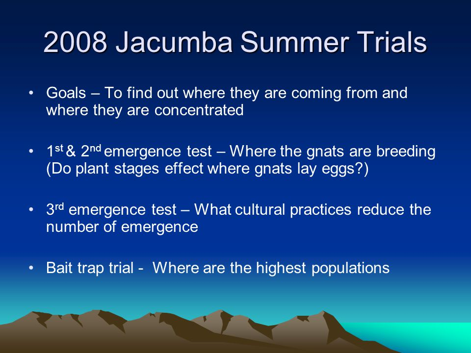 2008 Jacumba Summer Trials Goals – To find out where they are coming from and where they are concentrated 1 st & 2 nd emergence test – Where the gnats