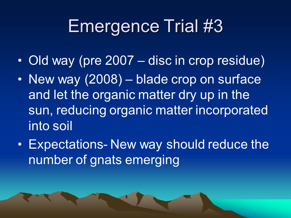 Emergence Trial #3 Old way (pre 2007 – disc in crop residue) New way (2008) – blade crop on surface and let the organic matter dry up in the sun, reducing organic matter incorporated into soil Expectations- New way should reduce the number of gnats emerging