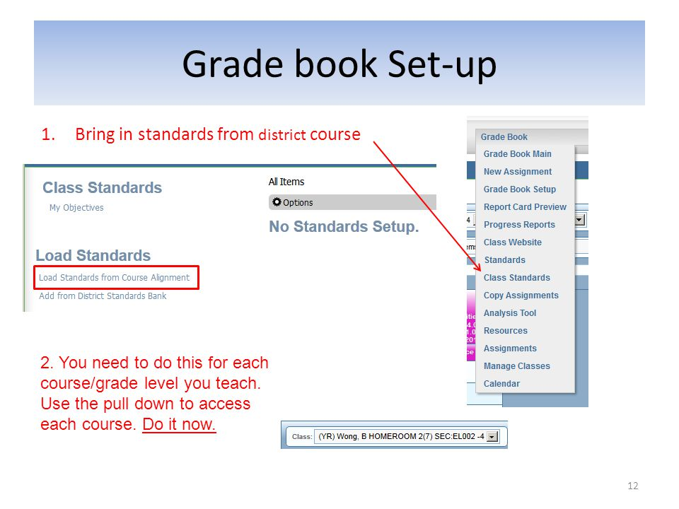 Grade book Set-up 1.Bring in standards from district course 12 2. You need to do this for each course/grade level you teach. Use the pull down to acce