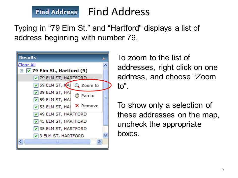 Find Address Typing in 79 Elm St. and Hartford displays a list of address beginning with number 79.